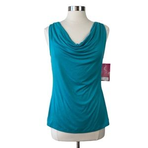 212 Collection Teal Drape Neck Knit Top, NWT